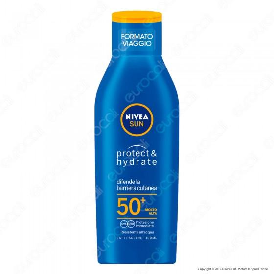 Nivea Sun Latte Solare Protect & Hydrate Formato Viaggio FP 50+ - Flacone da 100ml