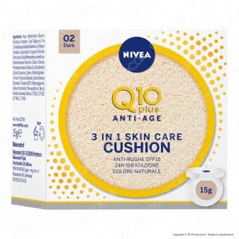 Nivea Q10 Plus Anti-Age 3 in 1 Skin Care Cushion Scuro Fondotinta Idratante - Cofanetto da 15g