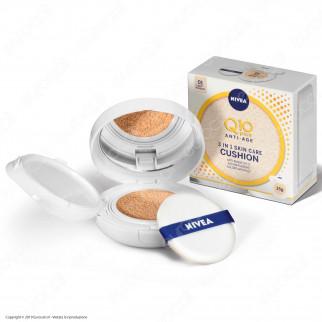 Nivea Q10 Plus Anti-Age 3 in 1 Skin Care Cushion Chiaro Fondotinta Idratante - Cofanetto da 15g