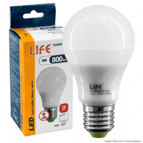 Life Lampadina LED E27 9W Bulb A60 12V DC - mod. 39.920360C12