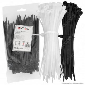 V-Tac Confezione da 100 Fascette Stringicavo Autobloccanti in Nylon 4,5 x 150 mm - SKU 11171 / 11172