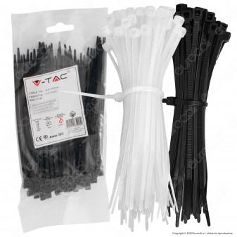 V-Tac Confezione da 100 Fascette Stringicavo Autobloccanti in Nylon 3,5 x 150 mm - SKU 11165 / 11166
