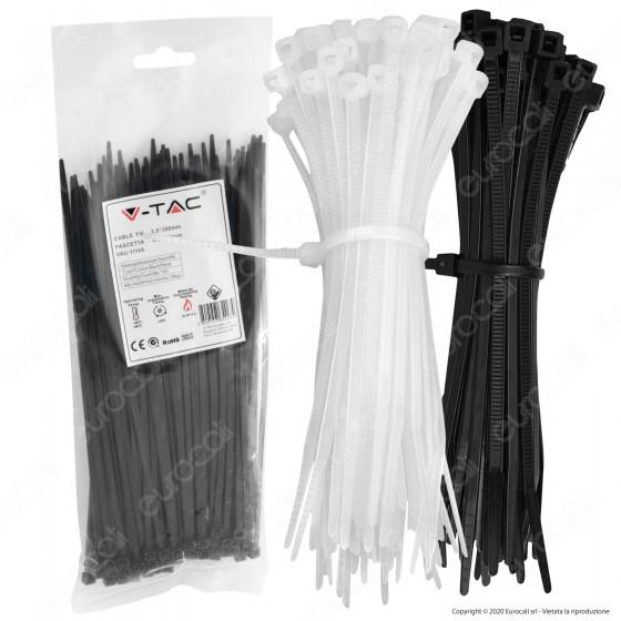 V-Tac Confezione da 100 Fascette Stringicavo Autobloccanti in Nylon 3,5 x 200 mm - SKU 11167 / 11168