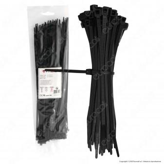 V-Tac Confezione da 100 Fascette Stringicavo Autobloccanti in Nylon Nero 3,5 x 300 mm - SKU 11170
