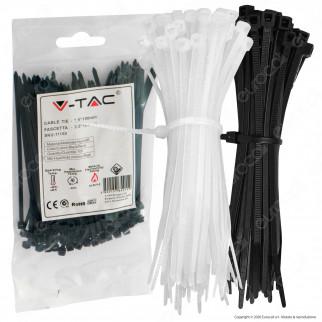 V-Tac Confezione da 100 Fascette Stringicavo Autobloccanti in Nylon 2,5 x 100 mm - SKU 11159 / 11160