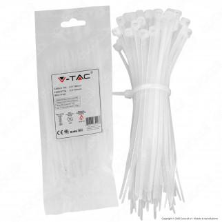 V-Tac Confezione da 100 Fascette Stringicavo Autobloccanti in Nylon 2,5 x 150 mm - SKU 11161 / 11162