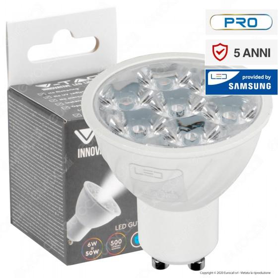 V-Tac PRO VT-249 Lampadina LED GU10 6W Faretto Spotlight Chip Samsung 10° - SKU 20026 / 20027 / 20028