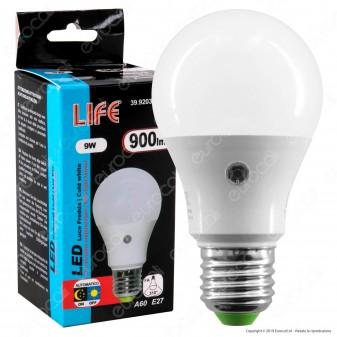 Life Lampadina LED E27 9W Bulb A60 con Sensore Crepuscolare - mod. 39.920363SC / 39.920363SN / 39.920363SF