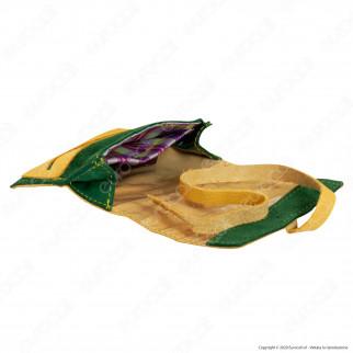 Il Morello Pocket Mini Portatabacco in Vera Pelle Colore Giallo e Verde 1