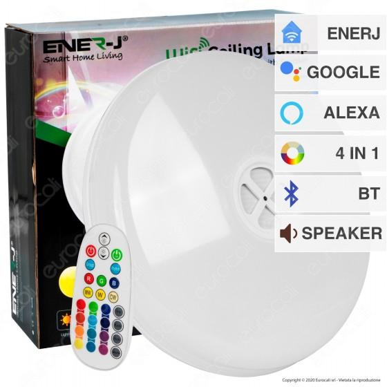 Ener-J Wi-Fi Ceiling Lamp Plafoniera LED RGB 4in1 24W Forma Circolare con Speaker Bluetooth e Telecomando - mod. SHA5261
