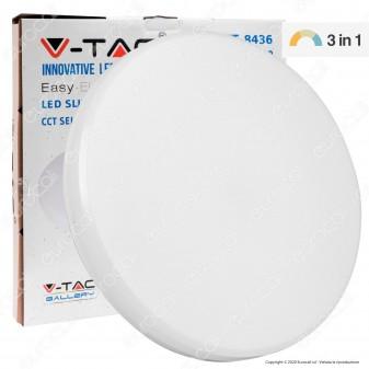V-Tac VT-8436 Plafoniera LED 36W Changing Color 3in1 Forma Circolare Copertura Opaca - SKU 7609