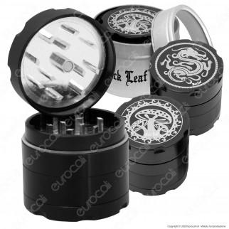 Grinder Tritatabacco Black Leaf 4 Parti in Metallo con Custodia [TERMINATO]