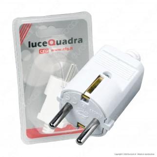 CFG Luce Quadra Spina Singola Schuko con Uscita Cavo Dritta di Colore Bianco - mod. ES018