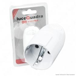 CFG Luce Quadra Presa Singola Schuko con Uscita Cavo Dritta di Colore Bianco - mod. ES019