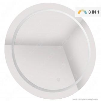 V-Tac VT-8602 Lampada LED a Specchio Rotondo da Parete 25W IP44 3in1 Dimmerabile con Anti Appannamento - SKU 40491
