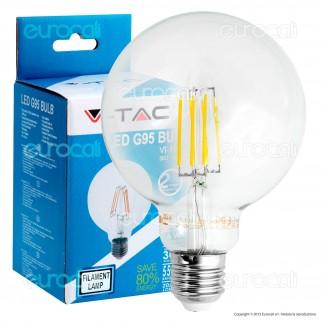 V-Tac VT-1993 Lampadina LED E27 6W Globo G95 Filamento