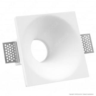 V-Tac VT 772SQ Portafaretto Quadrato da Incasso in Gesso per Lampadine GU10 e GU5.3 - SKU 3653