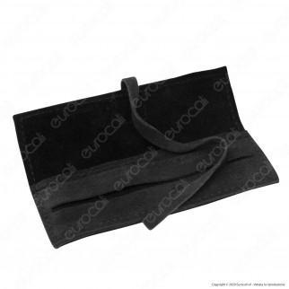 Il Morello Portacartine in Vera Pelle e Pelle Scamosciata Colore Nero Fatto a Mano