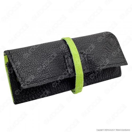 Il Morello Portacartine in Vera Pelle Colore Nero e Verde Fatto a Mano