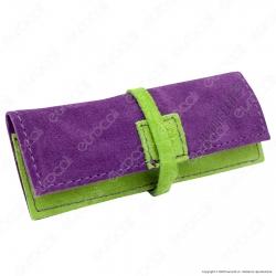 Il Morello Portacartine in Vera Pelle Colore Viola e Verde