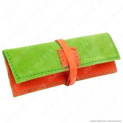 Il Morello Portacartine in Vera Pelle Colore Verde e Arancione Fatto a Mano