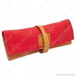 Il Morello Portacartine in Vera Pelle Colore Rosso e Giallo