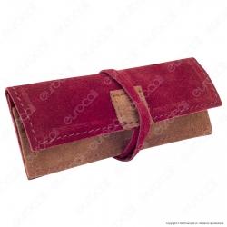 Il Morello Portacartine in Vera Pelle Colore Rosso Bordeaux e Marrone Chiaro