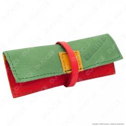 Il Morello Portacartine in Vera Pelle Jamaica Verde Rosso e Giallo