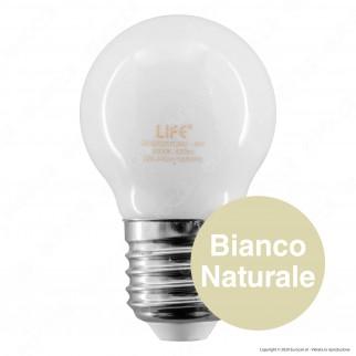 Life Lampadina LED E27 Filament 4W MiniGlobo G45 Milky Vetro Bianco - mod. 39.920257CM3 / 39.920257NM / 39.920257FM