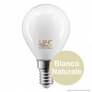 Life Lampadina LED E14 Filament 4W MiniGlobo P45 Milky Vetro Bianco - mod. 39.920256CM / 39.920256CM3 / 39.920256NM