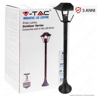 V-Tac VT-845 Lampione Portalampada Nero per Lampadine E27 da Giardino 950mm con Fissaggio a Terra - SKU 8687