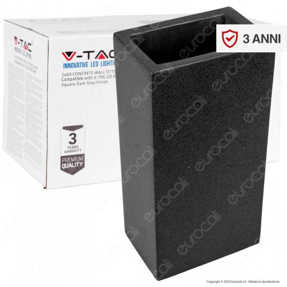 V-Tac VT-893 Applique Portalampada Doppio da Muro Concrete Wall Fitting Grigio Scuro per 2 Lampadine G9 - SKU 8694