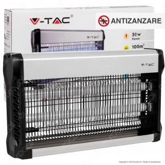 V-Tac VT-3230 Zanzariera Elettrica Insect Killer Lampada UV 30W Luce Blu Attira ed Elimina Insetti - SKU 11181
