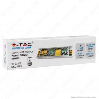 V-Tac VT-22250 Driver Alimentatore 250W Slim Series Per Uso Interno 24V a 2 Uscite con Morsetti a Vite - SKU 3273