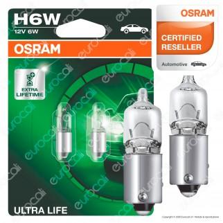 Osram Ultra Life Lunga Durata 6W - 2 Lampadine H6W