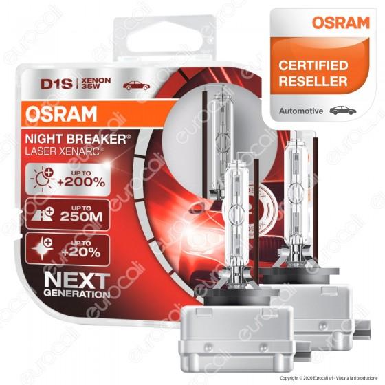 Osram Night Breaker Laser Xenarc Fari Xeno 35W - 2 Lampadine D1S