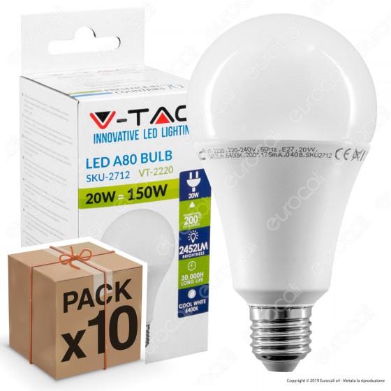 10 Lampadine LED V-Tac VT-2220 E27 20W Bulb A80 - Pack Risparmio