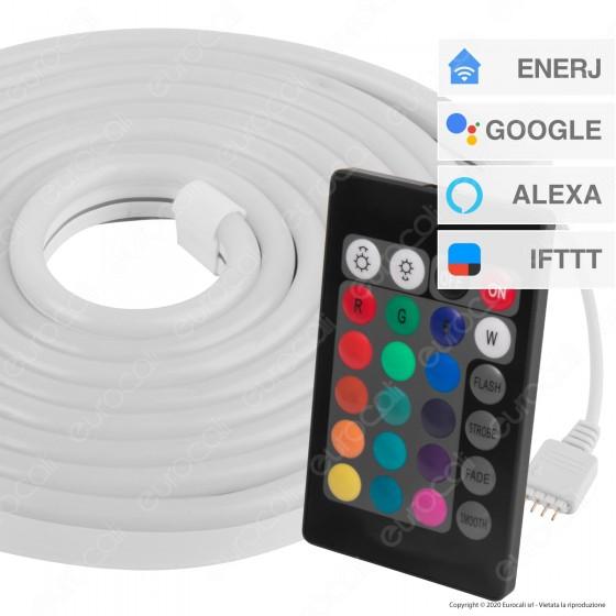 Ener-J Kit LED Neon Flex Strip Light Smart Wi-Fi RGB IP65 - Bobina da 3 metri - mod. SHA5297