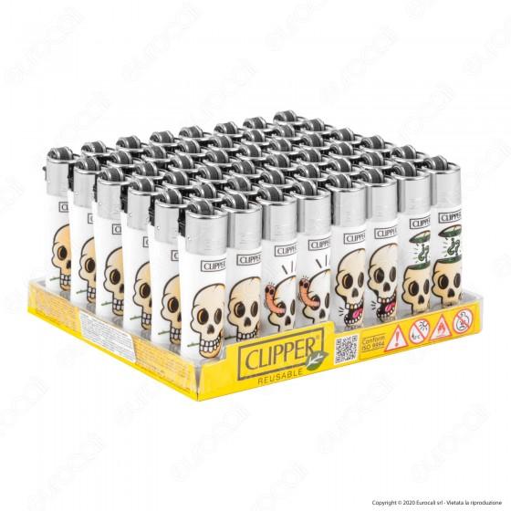 Clipper Micro Fantasia White Skulls - Box da 48 Accendini
