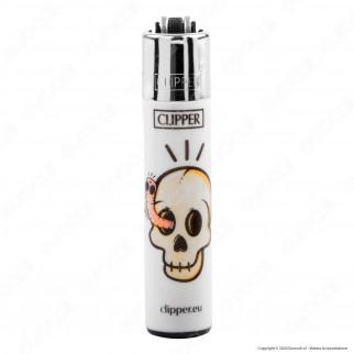 Clipper Micro Fantasia White Skulls - 4 Accendini