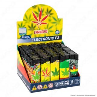 Atomic Electronic F2 Accendino Maxi Elettronico Ricaricabile Fantasia Cannabis - Box da 50 Accendini