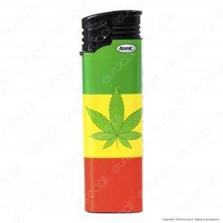 Atomic Electronic F2 Accendino Maxi Elettronico Ricaricabile Fantasia Cannabis - 5 Accendini