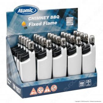 Atomic Chimney BBQ Accendigas Multiuso Maxi Elettronico Ricaricabile Colore Argento - Box da 25 Accendini