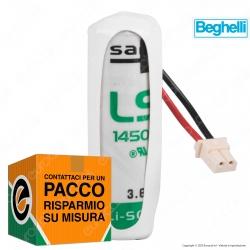 Saft Batteria Al Litio 3,6V LS 14500 Stilo AA con Connettore Compatibile Antifurto Beghelli - Batteria Singola