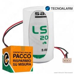 Saft Batteria Al Litio 3,6V LSH 20 ER-D Torcia D con Connettore Compatibile Antifurto Tecnoalarm - Batteria Singola