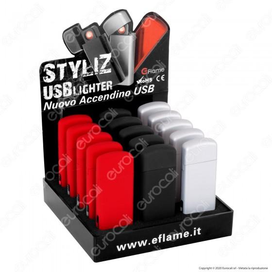 G-Flame Accendino USB Antivento Ricaricabile - Box da 15 Accendini (Rosso - Nero - Argento)