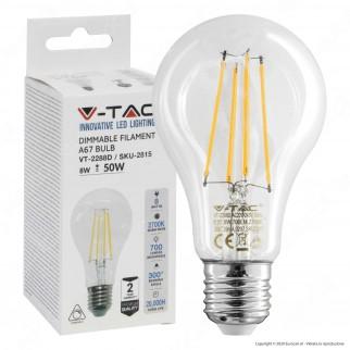 V-Tac VT-2288D Lampadina LED Filament E27 8W Bulb A67 Dimmerabile - SKU 2815
