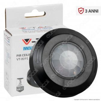 V-Tac VT-8091 Sensore di Movimento a Infrarossi PIR per Lampadine LED Colore Nero - SKU 6607