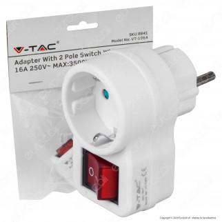 V-Tac VT-1064 Adattatore Singolo da 1 Posto con Spina Schuko e Interruttore Luminoso Colore Bianco - SKU 8841