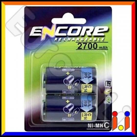 Uniross Encore Mezzatorcia C 2700mAh Pile Ricaricabili + Adattatori - Blister 2 Batterie